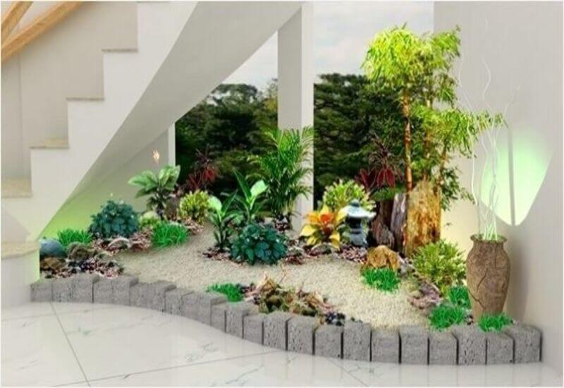 Mẫu tiểu cảnh sân vườn cho khu vực cầu thang vô cùng bắt mắt