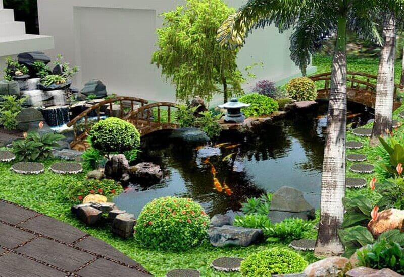 Mẫu tiểu cảnh sân vườn kết hợp với hồ nước