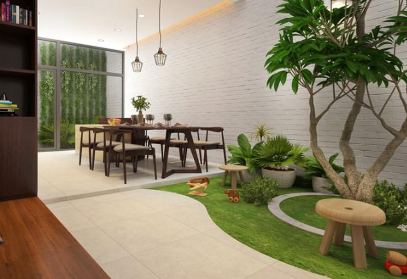 Mẫu tiểu cảnh sân vườn trong khu vực phòng ăn